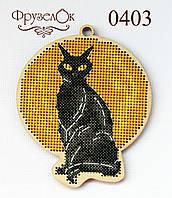 """Набір для вишивання хрестиком на дерев'яній основі """"Чорний кіт"""", фото 1"""