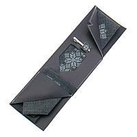 Вышитый галстук серого цвета с платком и зажимом №854
