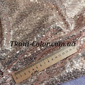 Ткань пайетка мелкая на сетке розовое золото