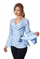 Стильная рубашка с поясом голубая