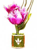 """Светильник - ночник """"Живой цветок"""" в горшке движется, светится 220V. H = 45 см. №1"""