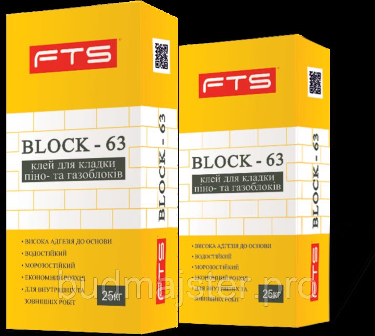 Клей BLOCK – 63, для кладки піно- та газоблоків, 25 кг