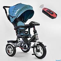 Трехколесный велосипед с музыкальной панелью и пультом, надувные колеса СИНИЙ ДЖИНС Best Trike 5890 - 3387