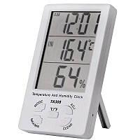 Кімнатний вимірювач температури і вологості TA308 з годинником