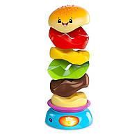 Развивающая игрушка пирамида Bright Starts Веселый бутерброд Giggling Gourmet Stack and Spin Burger (52126), фото 1