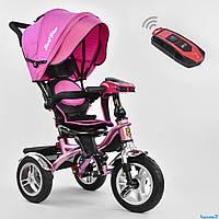 Трехколесный велосипед с музыкальной панелью и пультом, надувные колеса РОЗОВЫЙ Best Trike 5890 - 9067
