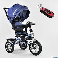 Трехколесный велосипед с музыкальной панелью и пультом, надувные колеса СИНИЙ Best Trike 5890 - 9367