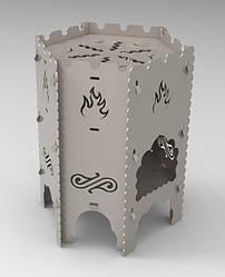Печь-мангал разборной, на 6 шампуров или 6л казан