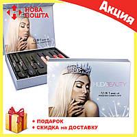 Подарочный набор косметики HUDABEAUTY 12 в 1 | помада матовая | подводка для век | тушь для ресниц, фото 1