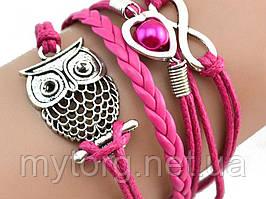 Браслет сова, женский, розовый  Розовый