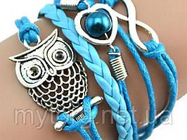 Браслет сова, женский, голубой  Голубой