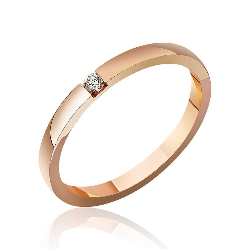 55108bb88430 Золотое обручальное кольцо с бриллиантом, КОА7104 Eurogold