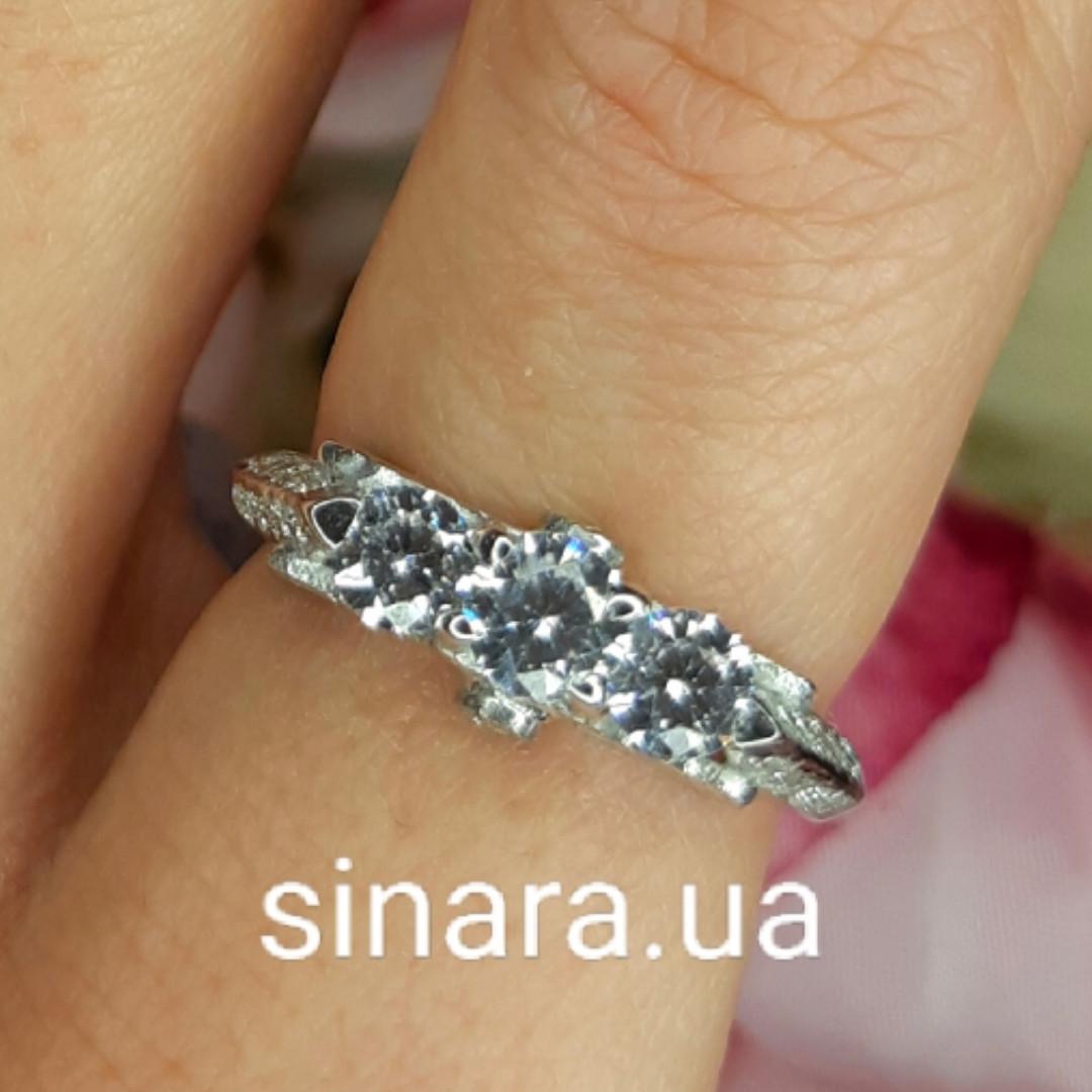Серебряное родированное помолвочное кольцо