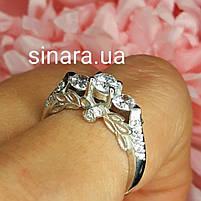 Серебряное родированное помолвочное кольцо, фото 2
