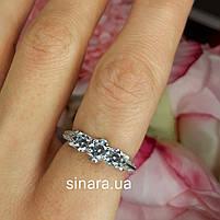 Серебряное родированное помолвочное кольцо, фото 3