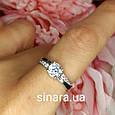 Серебряное родированное кольцо с фианитом, фото 2