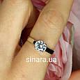 Серебряное родированное кольцо солитер с одним камнем, фото 3