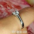 Серебряное родированное кольцо солитер с одним камнем, фото 2