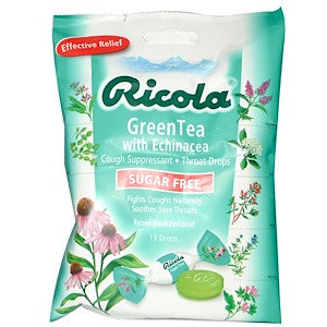 Натуральные леденцы с зелёным чаем и эхинацеей Ricola 19 шт., Упаковка