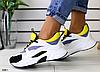 Кроссовки белые с серыми, желтыми и черными вставками
