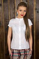 Женская качественная хлопковая летняя блузка с кружевом 939 | Белая, фото 1