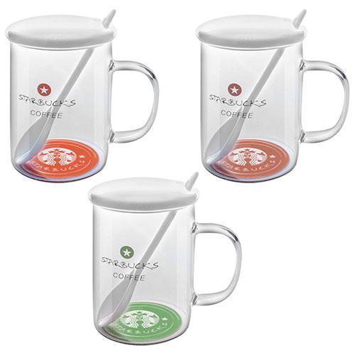 """Чашка с крышкой и ложкой """"Starbucks glass"""" 500мл"""