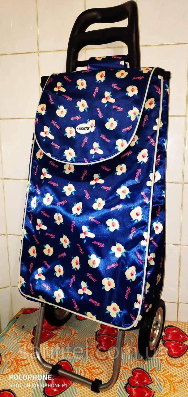 """Тележка усиленная с сумкой  и на железных колесах с подшипником """"Синий цветочек"""""""