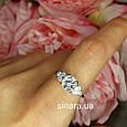 """Серебряное родированное кольцо с тремя роскошными фианитами вида """"Бриллиант"""", фото 3"""