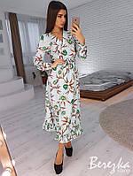 Платье женское нежное на запах с оборкой и поясом цветочный принт Sms3040