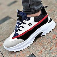 Стильные женские кроссовки на толстой подошве белые с цветными вставками на весну лето удобные (Код: Б1354)