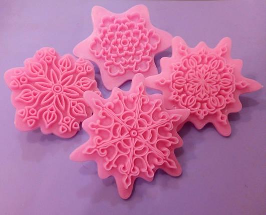 Пресс-шаблон для украшения торта ажурные снежинки, фото 2
