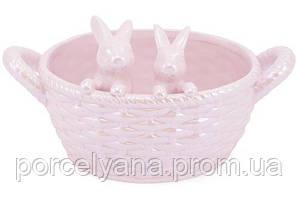 Декоративная конфетница корзина с кроликами 23 см Bonadi