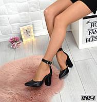 Туфли кожанные черные на каблуке с ремешком на щиколотке, фото 1