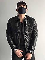 Мужская демисезонная кожанка черная куртка