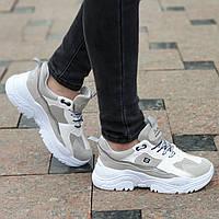 Стильные женские кроссовки на толстой подошве серые с бежевыми вставками, мягкие и удобные (Код: Б1353а)