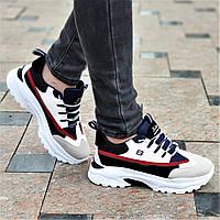 Стильные женские кроссовки на толстой подошве белые с цветными вставками на весну лето (Код: Б1354а)