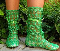 Летние стильные сапожки гипюровые зеленые. Арт- 0031