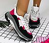 Кроссовки женские белые с черным и розовым