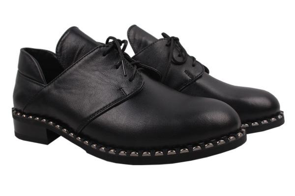Туфли женские на низком ходу Foletti натуральная кожа, цвет черный, Украина.