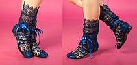 Темно-синие летние кружевные ажурные вязаные женские сапожки из кружева макраме. Арт- 0059, фото 1