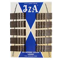 Невидимки для волос волнистые с двумя шариками коричневые матовые 5 см (100 шт/уп)