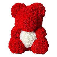 Мишка из искусственных 3D роз в подарочной упаковке 40 см красный - 140102