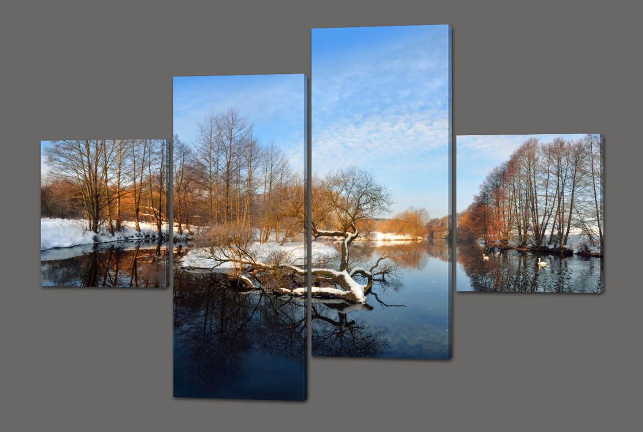Модульная картина Зимний пейзаж 160*114 см Код: 435.4к.160
