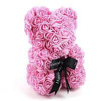 Мишка из искусственных 3D роз в подарочной упаковке 25 см розовый - 140099