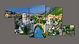 Модульная картина Альпийский город 263*100 см Код: 355.5к.263, фото 2