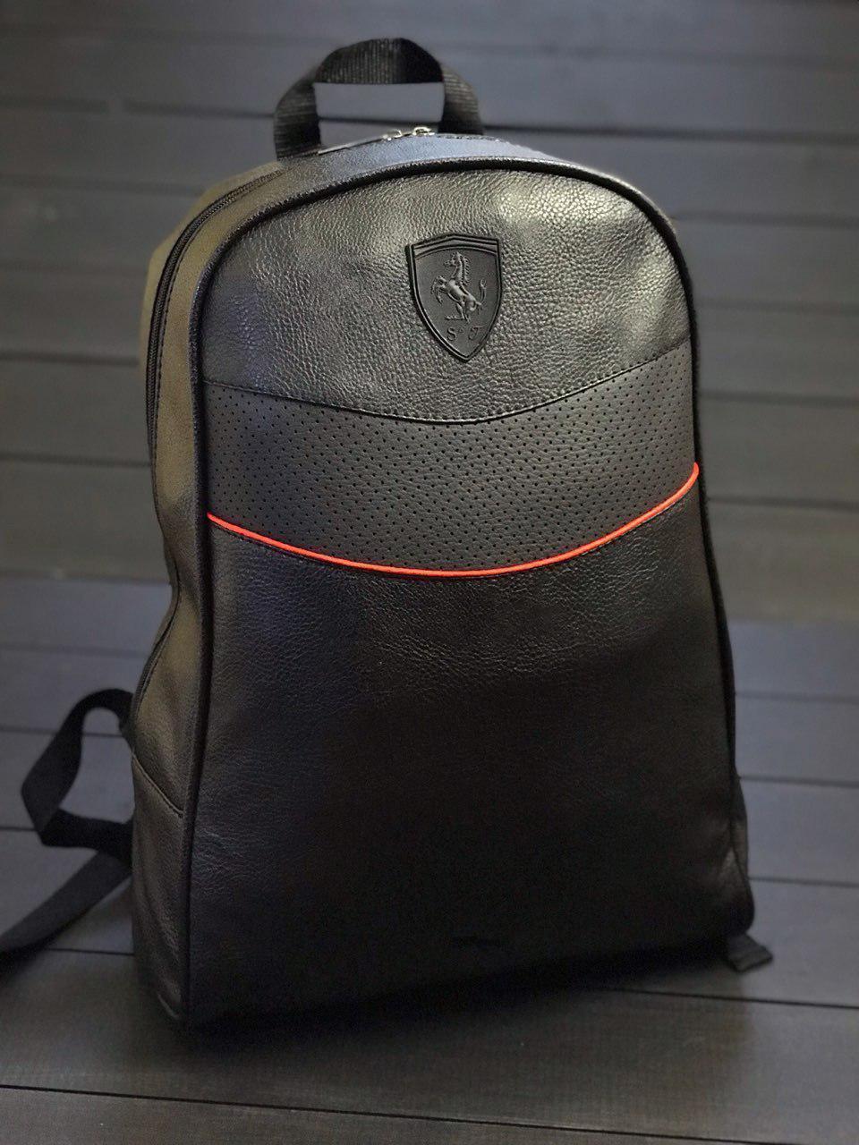 Рюкзак  Puma Ferrari  мужской кожаный городской черный