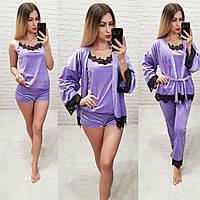 Женский комплект  4 в 1 турция бархат французское кружево цвет фиолетовый