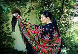 Русская красавица 325-18, павлопосадский платок шерстяной  с шерстяной бахромой, фото 8