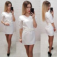 Женское платье ткань габардин пояс в комплекте цвет белый