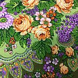 Цветет сирень 1360-10, павлопосадский платок шерстяной  с шелковой бахромой, фото 5
